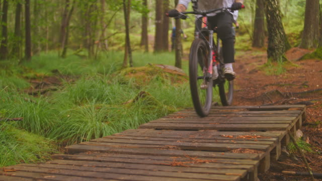 view of downhill riders over wooden bridge with mountainbikes in a pine forest in änggårdsbergen in gothenburg - percorso per bicicletta video stock e b–roll