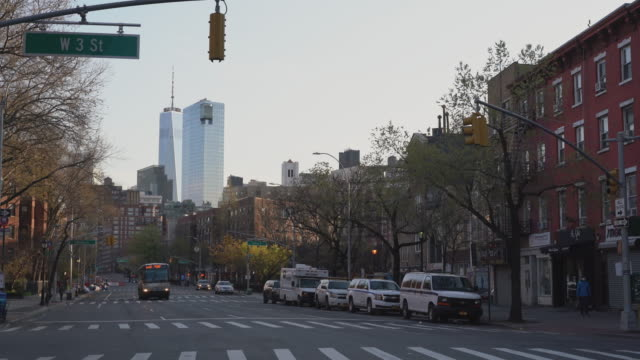 View of Downtown Manhattan along 6th avenue which is now deserted due to the COVID-19 outbreak.