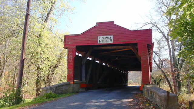 View of Dreibelbis Station Covered Bridge in Pennsylvania, United States video