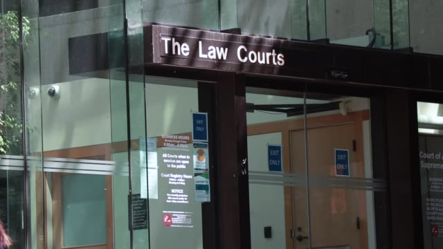 Video View of entrance and sign of The Law Courts in Downtown Vancouver