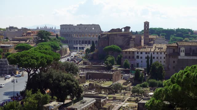 View of famous italian attraction Coliseum from Il Vittoriano monument on Capitol hill in Rome city