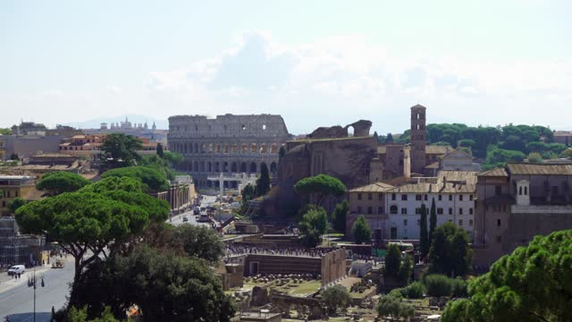 View of famous italian attraction Coliseum from Il Vittoriano monument on Сapitol hill in Rome city