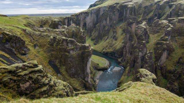 View of Fjadrargljufur canyon looking towards the ocean, Iceland