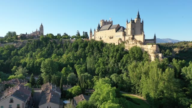 view of fortress Alcazar of Segovia Aerial view of fortress Alcazar of Segovia. Spain fort stock videos & royalty-free footage