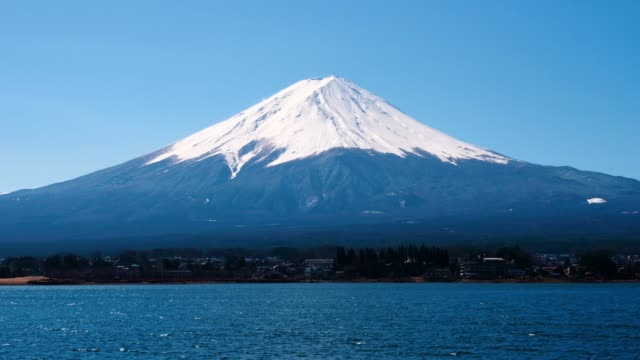 vidéos et rushes de vue de la montagne de fuji du lac de kawaguchiko - fuji yama