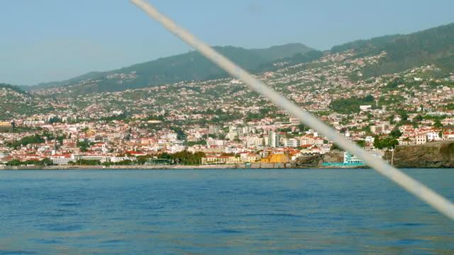 View of Funshal city on coastline of Madeira island video