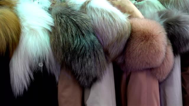 4k vy av pälsjackor från naturlig päls hängande - päls textil bildbanksvideor och videomaterial från bakom kulisserna
