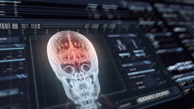 View of futuristic interface with HUD with holographic human brain Digital monitor with user interface HUD with nerve fiber analysis on dark background. Detailed abstract background with blinking and switching indicators and statuses showing work of the medical organization biochemistry stock videos & royalty-free footage