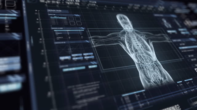 View of futuristic interface with HUD with holographic upper part of human body Digital monitor with user interface HUD with nerve fiber analysis on dark background. Detailed abstract background with blinking and switching indicators and statuses showing work of the medical organization biochemistry stock videos & royalty-free footage