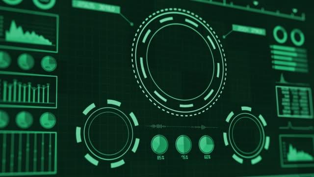 stockvideo's en b-roll-footage met weergave van futuristische gebruikersinterface met hud- en infographic-elementen. - bedrijfsstrategie