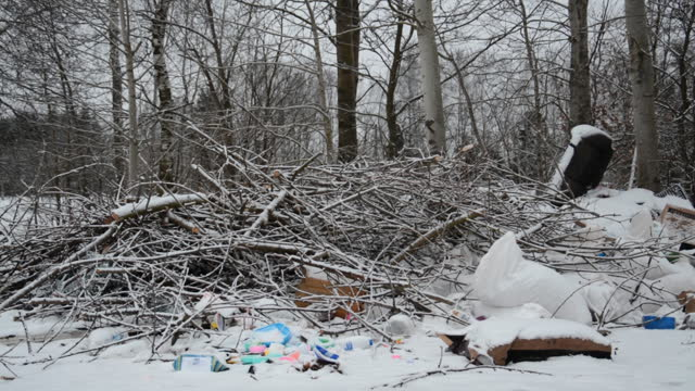 view of garbage dump in winter forest video
