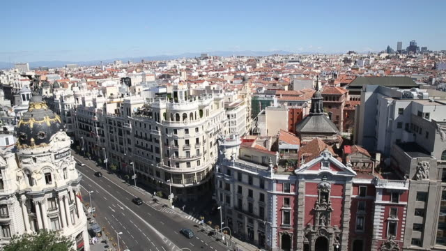 view of gran via in madrid, spain. - madrid video stock e b–roll