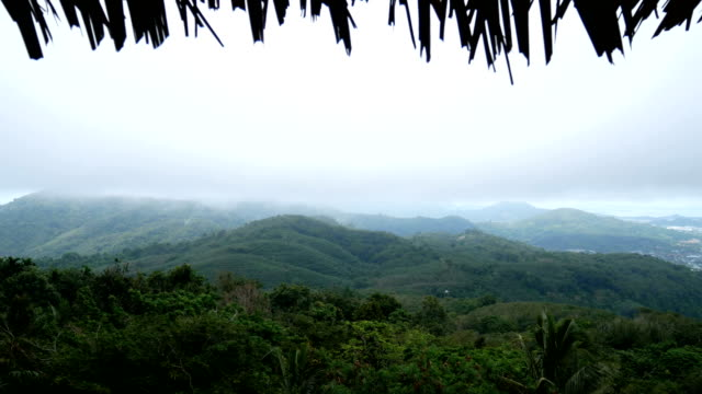 4K. view of green mountains with white mist after rain. view from the cottage , thatch from roof of the hut is the front as foreground video
