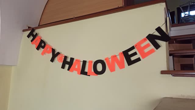 View of Happy Halloween inscription, Get ready to celebrate Halloween View of Happy Halloween inscription, Get ready to celebrate Halloween, decorate home for celebrate Halloween at home halloween covid stock videos & royalty-free footage