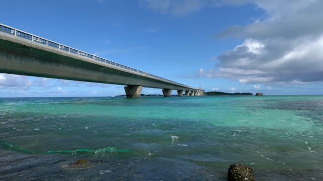 View of Ikema bridge from Sedo bridge car parking in Miyako island video