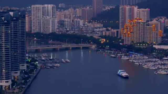 vídeos y material grabado en eventos de stock de vista de la isla con yangtze yellow river y bridge. edificios modernos. china - río yangtsé