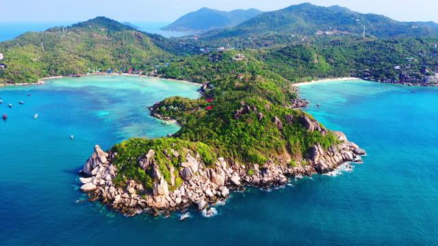 南から北を見下ろす南からタオ島の景色は、スラートターニー、タイ。 - サムイ島点の映像素材/bロール
