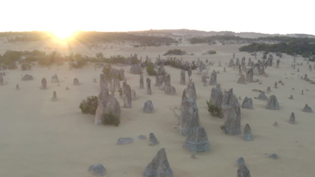 View of land at Pinnacles Desert in Western Australia. Landmark for traveler near Perth.