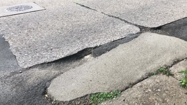 View of Large Pot Hole on Cement Road video