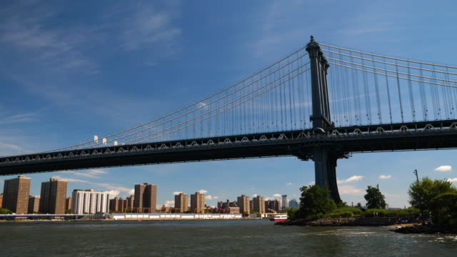 View of Lower Manhattan and Brooklyn Bridge View of Lower Manhattan and Brooklyn Bridge wide angle stock videos & royalty-free footage