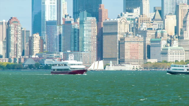 View of Lower Manhattan with Ferry Crossing the Hudson River video