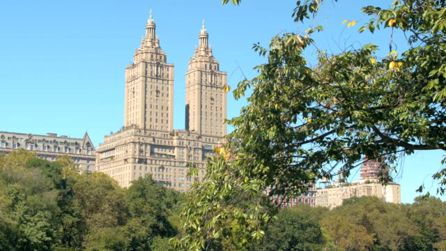 CLOSE UP: View of Manhattan Upper West Side & San Remo luxury apartment building