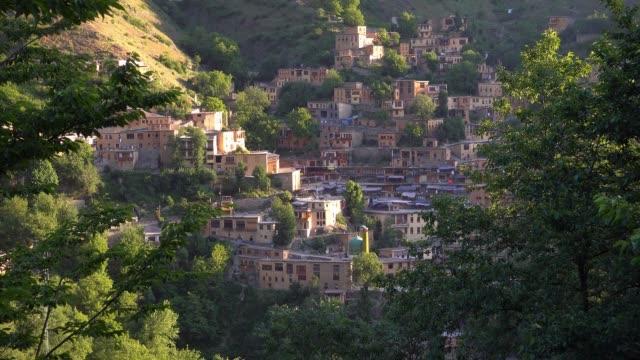 view of masuleh village, gilan province, iran. unesco world heritage - cultura del medio oriente video stock e b–roll