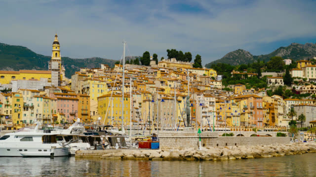 View Of Menton City along the French Riviera, France