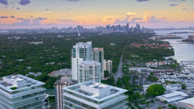AERIAL View of Miami at sunset from the Coconut Grove, FL video
