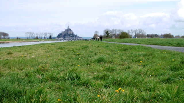 view of mont saint michel, normandy, france - french architecture stock videos & royalty-free footage