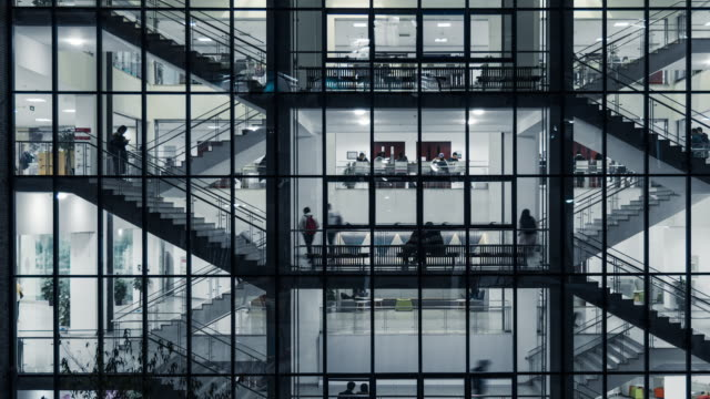 stockvideo's en b-roll-footage met t/l pan view verkeer van zakenman in business kantoorgebouw - dubbelopname businessman