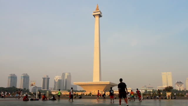 View of National Monument (Monas) in Jakarta National Monument, also known as Monas is a landmark in Jakarta, Indonesia. One of favorite tourist destination in Jakarta. jakarta stock videos & royalty-free footage