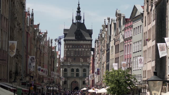 WS View of of People walking on street ul. Dluga in old town /... video