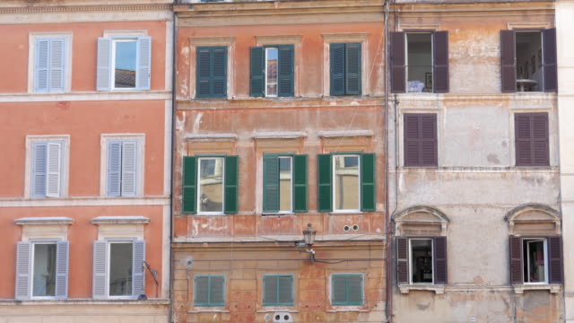 view of old apartments in Rome Italy video