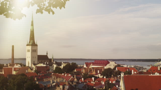 view of old town tallinn. establishing shot. - medieval architecture stock videos & royalty-free footage