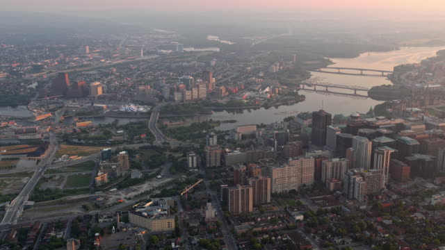 AERIAL View of Ottawa and Gatineau with Ottawa River at sunrise video