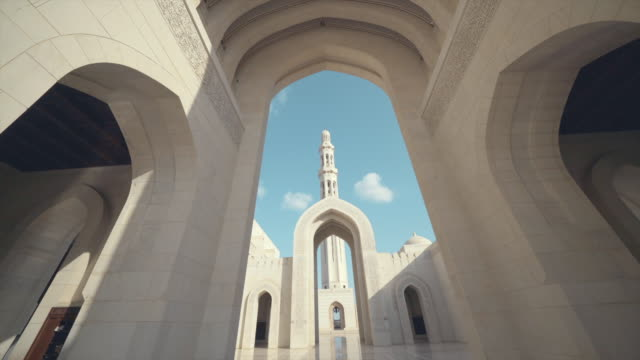 view of palace archways in oman - oman video stock e b–roll