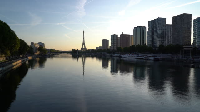 View of Paris skyline and river Seine at dawn