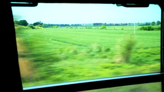 HD View of passing landscape rural areas from train window video