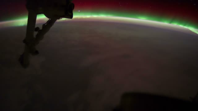 ISS view of Planet Earth with city light, stars and aurora video