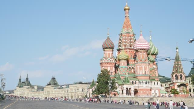 utsikt över pokrovsky katedralen på röda torget i moskva city - vasilijkatedralen bildbanksvideor och videomaterial från bakom kulisserna
