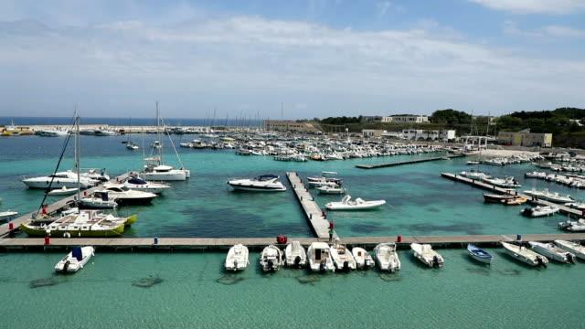 view of port of otranto from aragonese castle, province of lecce in the salento peninsula - lecce video stock e b–roll