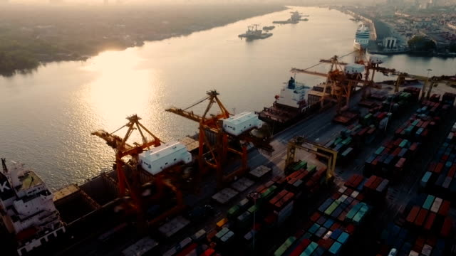 View of Port terminal in city at sunset video