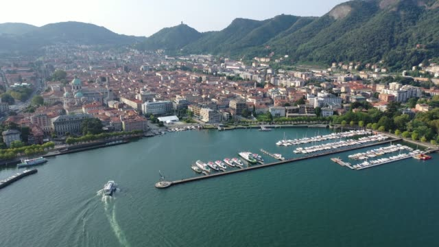 view of residential areas of italian city of como - lombardia video stock e b–roll