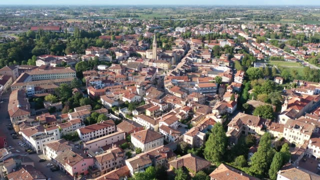 view of residential areas of italian town of portogruaro - элемент здания стоковые видео и кадры b-roll