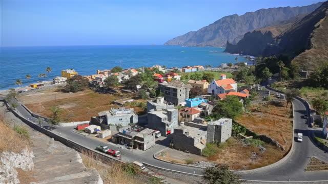 vídeos de stock e filmes b-roll de view of ribeira do paul and vila das pombas a municipality of island of santo antão, cape verde - montanha costeira