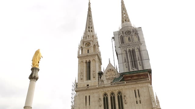 View of Roman Catholic Zagreb Cathedral in city center, architecture in Croatia video