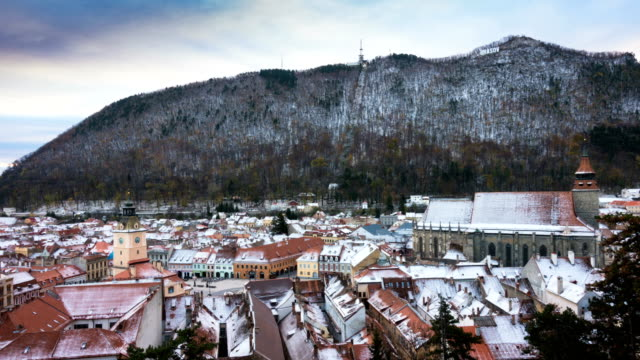 view of romanian medieval town Brasov from the viewpoint video