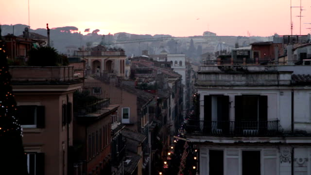 view of Rome at sunset video
