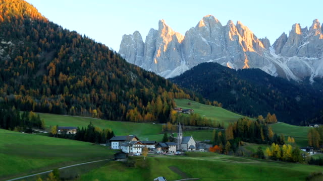 View of Santa Maddalena village church, Val di Funes, Dolomiti Mountains, Italy video